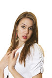 Vrouw in Wit Royalty-vrije Stock Afbeelding
