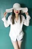 Vrouw in wit overhemd Royalty-vrije Stock Foto