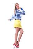 Vrouw in zeemanskostuum Stock Foto's