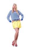 Vrouw in zeemanskostuum Royalty-vrije Stock Afbeeldingen