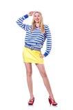 Vrouw in zeemanskostuum Royalty-vrije Stock Foto's