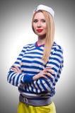 Vrouw in zeemanskostuum Stock Fotografie