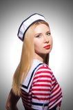 Vrouw in zeemanskostuum Royalty-vrije Stock Afbeelding