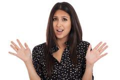 Vrouw zonder manieruitdrukking op wit wordt geïsoleerde dat Stock Foto