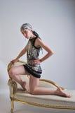 Vrouw in Zwart-witte Kleding Royalty-vrije Stock Afbeeldingen