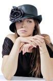 Vrouw in zwarte hoed 4 stock fotografie