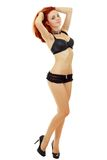 Vrouw in zwarte lingerie Royalty-vrije Stock Fotografie