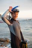 Vrouw in Zwempak Stock Foto's