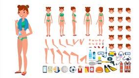Vrouw in Zwempakvector Geanimeerd Vrouwelijk Karakter in Zwemmende Bikini De Verwezenlijkingsreeks van het de zomerstrand Volledi vector illustratie