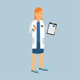 Vrouwelijk artsenkarakter in een witte laag die en het medische rapport of het voorschrift, medische behandelingillustratie bevin stock illustratie