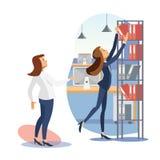 Vrouwelijk Chef- Giving Task aan de Vlakke Vector van Employe stock illustratie