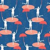 Vrouwelijk cijfer die open paraplu houden Het zingen in het regen naadloze patroon Vrouw die in watervulklei springen Concept van stock illustratie