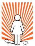 Vrouwelijk cijfer over zonnestraalachtergrond Royalty-vrije Stock Afbeeldingen