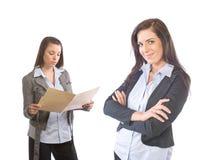 Vrouwelijk Commercieel Team dat op wit wordt geïsoleerdt royalty-vrije stock foto's