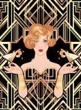 Vrouwelijk de cocktailglas van de handholding met plons Art deco (1920 ' vector illustratie