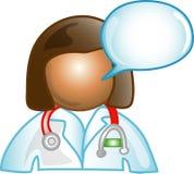 Vrouwelijk Dr. commentaarpictogram Stock Foto