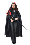 Vrouwelijk dragend duivelskostuum Royalty-vrije Stock Afbeeldingen