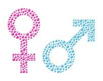 Vrouwelijk en mannelijk teken stock illustratie