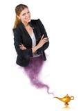 Vrouwelijk genie dat uit de magische lamp komt Royalty-vrije Stock Foto's