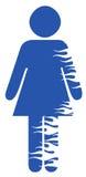 Vrouwelijk geslachtssymbool met vlammen Stock Foto's