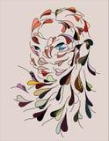 Vrouwelijk gezicht dat van kleurrijke vliegende bladeren wordt getrokken vector illustratie