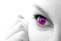 Vrouwelijk gezicht met gekleurde iris Stock Foto