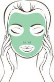 Vrouwelijk gezicht met schoonheidsmasker stock illustratie
