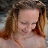 Vrouwelijk gezicht met sproeten Stock Foto's