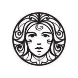 Vrouwelijk gezichtspictogram Royalty-vrije Stock Afbeelding