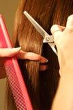 Vrouwelijk haarknipsel bij een salon Stock Afbeeldingen