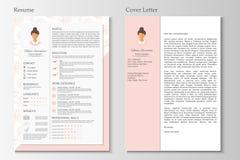 Vrouwelijk hervat en dekkingsbrief met infographic ontwerp stock illustratie