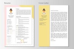 Vrouwelijk hervat en dekkingsbrief met infographic ontwerp vector illustratie