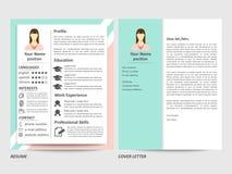 Vrouwelijk hervat en het malplaatje van de dekkingsbrief stock illustratie