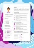 Vrouwelijk hervat met infographic ontwerp Modieus die cv voor wome wordt geplaatst vector illustratie