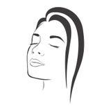 vrouwelijk het gezichtssilhouet van de zijaanzichtschets Royalty-vrije Stock Afbeelding