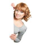 Vrouwelijk holdingsteken Stock Afbeelding