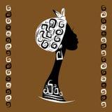 Vrouwelijk hoofdsilhouet voor uw etnisch ontwerp, stock illustratie