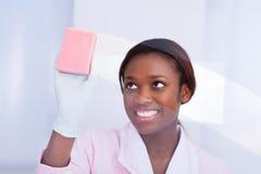 Vrouwelijk huishoudster schoonmakend glas in hotel Stock Afbeeldingen