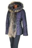 Vrouwelijk jasje dat door bont in orde wordt gemaakt Stock Foto
