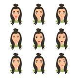 Vrouwelijk jong karaktergezicht met verschillende emotie Donkerbruin meisje met gelukkig, boos, ongelukkig, lachen, doen schrikke vector illustratie