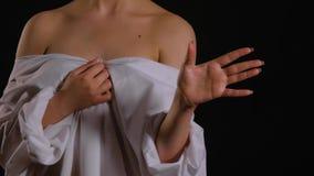 Vrouwelijk lichaam op Malplaatje voor HUD stock videobeelden