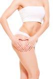 Vrouwelijk lichaam in witte lingerie Stock Foto