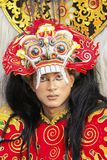 Vrouwelijk model bij het Jember-Festival Carnaval Stock Foto