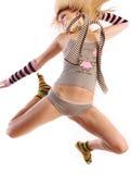 Vrouwelijk model in sprong. Royalty-vrije Stock Afbeeldingen