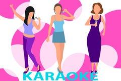 Vrouwelijk muzikaal trio De vrouwen zingen karaoke Drie vrouwen houden een microfoon en zingen karaoke stock illustratie