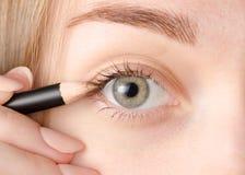 Vrouwelijk oog natuurlijk potlood voor oog stock afbeeldingen