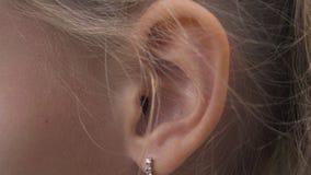 Vrouwelijk oor met oorrings dichte omhooggaand Oor van vrouwenblonde met het decoratieve doordringen stock video