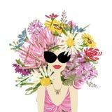 Vrouwelijk portret met bloemenkapsel voor uw Stock Foto's