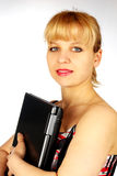 Vrouwelijk portret met laptop Stock Afbeeldingen