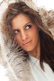 Vrouwelijk portret met veren Royalty-vrije Stock Afbeelding